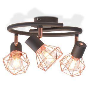 vidaXL Lubinis šviestuvas su 3 gaubtuvais, E14, juodas ir vario spalvos