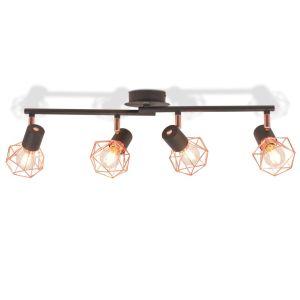 vidaXL Lubinis šviestuvas su 4 gaubtuvais, E14, juodas ir vario sp.