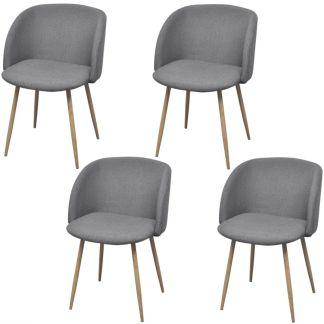 vidaXL Valgomojo kėdės, 4 vnt., audinys, šviesiai pilkos