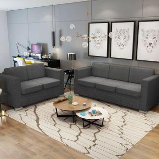 vidaXL 2 sofų komplektas, audinys, tamsiai pilkos