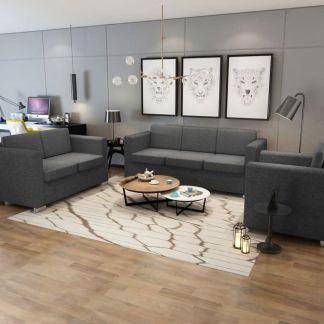 vidaXL 3 sofų komplektas, audinys, tamsiai pilkos