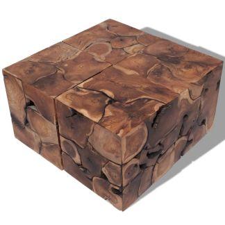 vidaXL Kėdutės/kavos staliukas, masyvi tikmedžio mediena
