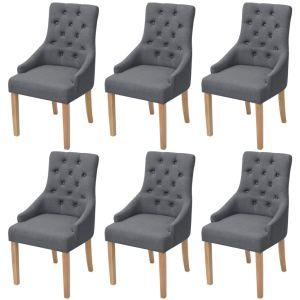 vidaXL Ąžuolinės valgomojo kėdės, 6 vnt., tamsiai pilkas audinys
