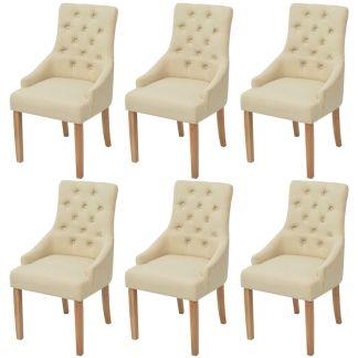 vidaXL Ąžuolinės valgomojo kėdės, 6 vnt., kreminės spalvos audinys