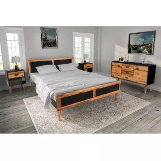 vidaXL Miegamojo baldų komplektas, 4d., akacijos mediena, 180x200cm
