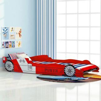 vidaXL Vaikiška lova lenktyninė mašina, 90×200 cm, raudona
