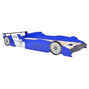 Vaikiška lova lenktyninė mašina, 90×200 cm, mėlyna