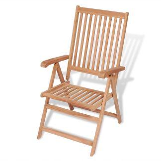 vidaXL Atlošiama sodo kėdė, tikmedžio mediena