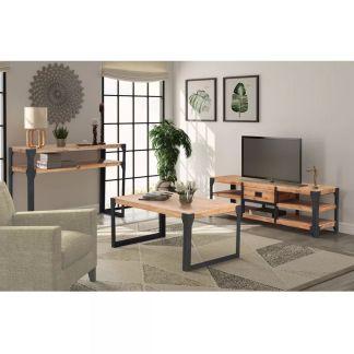 vidaXL Svetainės baldų komplektas, 3d., masyvi akacijos mediena