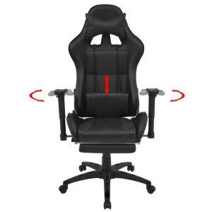 Atlošiama biuro/žaidimų kėdė su atrama kojoms, juoda