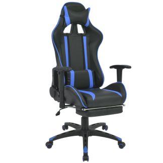 vidaXL Atlošiama biuro/žaidimų kėdė su atrama kojoms, mėlyna