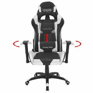 Atlošiama biuro/žaidimų kėdė, dirbtinė oda, balta