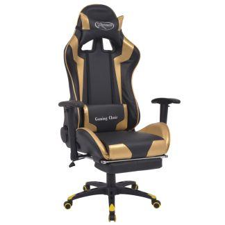vidaXL Atlošiama biuro/žaidimų kėdė su atrama kojoms, auksinės spalvos