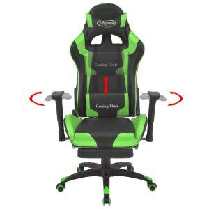 Atlošiama biuro/žaidimų kėdė su atrama kojoms, žalia