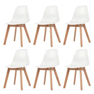 vidaXL Valgomojo kėdės, 6vnt., baltos sp.
