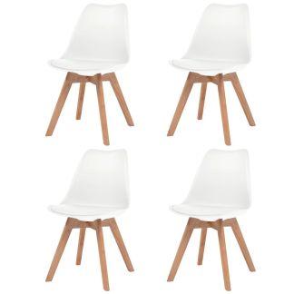 vidaXL Valgomojo kėdės, 4vnt., dirbtinė oda, masyvi mediena, baltos