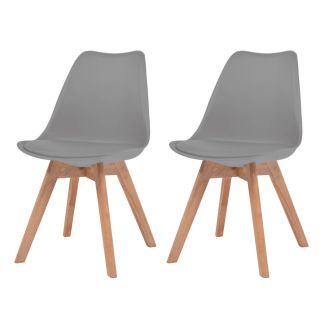 vidaXL Valgomojo kėdės, 2vnt., dirbtinė oda, masyvi mediena, pilkos