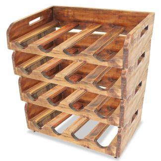 vidaXL Vyno butelių laikikliai, 4vnt., 16 butelių, perdirbta mediena