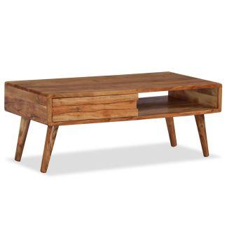 vidaXL Kavos staliukas, mediena, su išdrožinėtu stalč., 100x50x40 cm