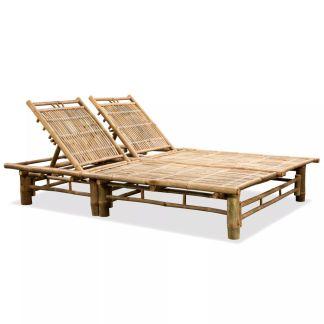vidaXL Dvigulis saulės gultas, bambukas