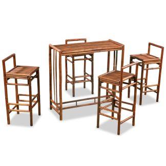 vidaXL Valgomojo baldų komplektas, 5d., bambukas, rudas