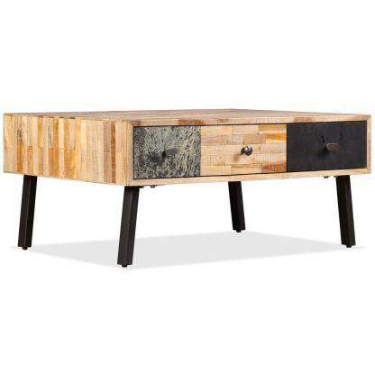 vidaXL Kavos staliukas, masyvus perdirbtas tikmedis, 90x65x40 cm