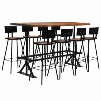 vidaXL Baro baldų komplektas, 9d., masyvi perdirbta mediena