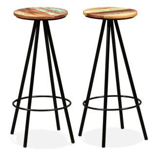 vidaXL Baro kėdės, 2 vnt., perdirbta mediena ir plienas
