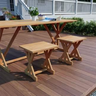 vidaXL Sodo pakojos, 2vnt., 42x35x45cm, tikmedžio medienos masyvas
