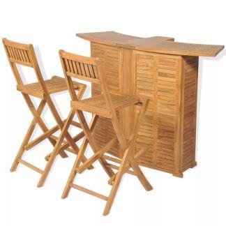 vidaXL Bistro baldų kompl. su sulank. kėd., 3d., tikm. med. mas.