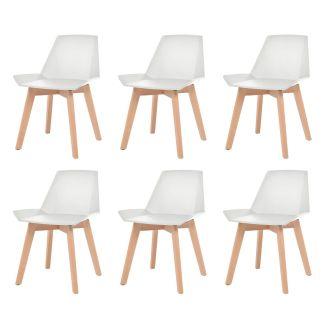 vidaXL Valgomojo kėdės, 6vnt., baltos, plastik. sėdynė, bukmedžio koj.