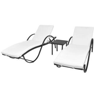 vidaXL Saulės gultai, 2 vnt., su staliuku, poliratanas, juodas
