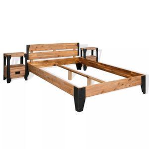vidaXL Lovos rėmas su 2 staliukai, akacijos med., plienas, 180x200cm