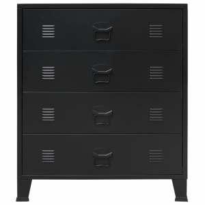 Komoda su stalčiais, metalas, industr. st., 78x40x93cm, juoda
