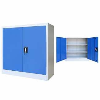 vidaXL Biuro spintelė, metalas, 90x40x90cm, pilka ir mėlyna