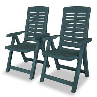 vidaXL Atlošiamos sodo kėdės, 2 vnt., plastikas, žalia spalva