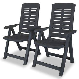 vidaXL Atlošiamos sodo kėdės, 2vnt., plastikas, antracito spalva