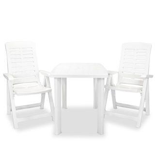 vidaXL Bistro baldų komplektas, 3d., baltas, plastikas