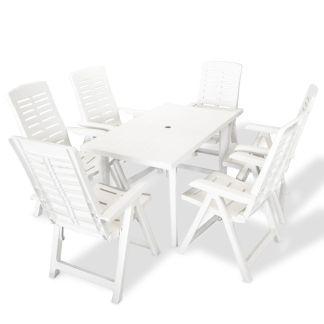 vidaXL Lauko valg. baldų komplektas, 7d., baltos spalvos, plastikas