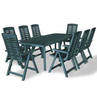 vidaXL Lauko valg. baldų komplektas, 9d., žalios spalvos, plastikas