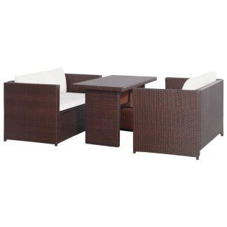 vidaXL Bistro baldų komplektas su pag., 3d., rudas, ratanas