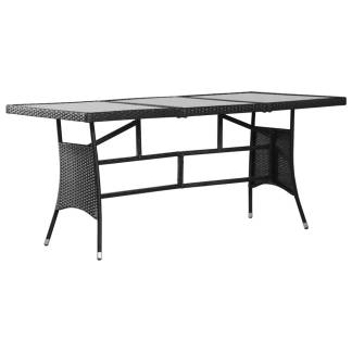vidaXL Sodo stalas, juodas, 170x80x74cm, poliratanas