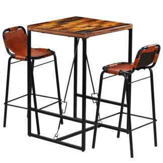 vidaXL Baro baldų komplektas, 3d., perdirbt. med. ir tikra ožkos oda