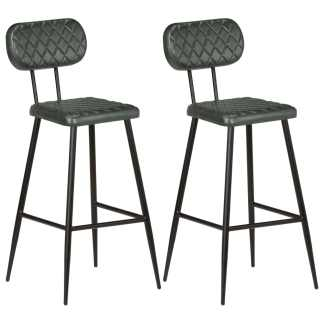 vidaXL Baro kėdės, 2 vnt., pilkos, tikra oda
