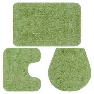 vidaXL Vonios kilimėlių rinkinys, 3d., žalias, audinys