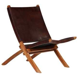 vidaXL Poilsio kėdė, tikra oda, 59x72x79cm, ruda