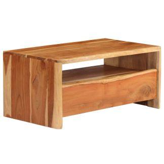 vidaXL Kavos staliukas, natūralios sp., 90x50x40cm, akacijos med. mas.