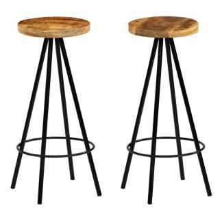 vidaXL Baro kėdės, 2vnt., masyvi mango mediena, 30x30x76cm
