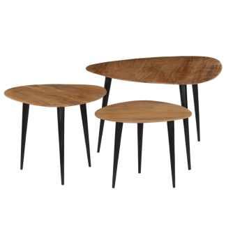 vidaXL Kavos staliukų kompl., 3d., akacijos medienos masyvas
