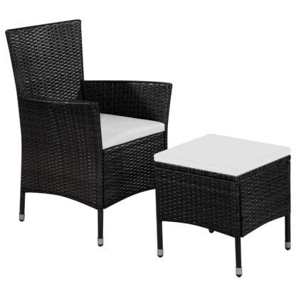 vidaXL Lauko kėdė ir taburetė su pagalvėlėmis, poliratanas, juoda